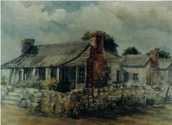 Painting of the Bryson Stage Stop in early-day Liberty Hill