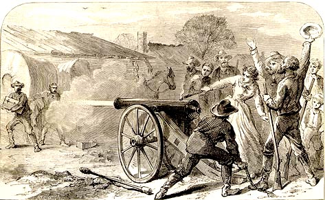 Photo of  Angelina firing a cannon to alert Austin citizens that the archives were being moved