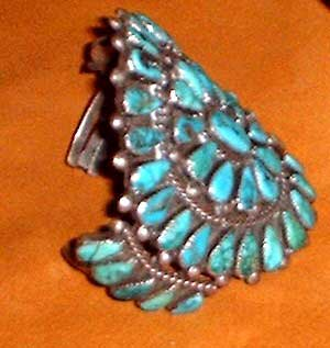 Large Pawn Turquoise and Silver bracelet