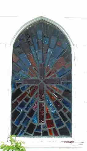 Photo of the Beautiful Stained Glass Window in the Leander Presbyterian Church in 